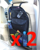 2 x Kabalo Universal Back Seat Car Organiser with Drinks and Umbrella Holder, 7 separate hook and loop sealed storage compartments. Height 55cm x Width 36cm