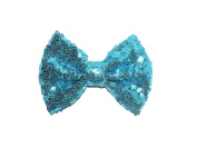STUNNING GIRLS LARGE SEQUIN HAIR BOW ON CLIP - HAIR BOWS FOR GIRLS SILVER PINK GOLD