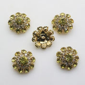 20pcs 20mm Gold Colour Round Rhinestones Diamond Buttons Decorative Beads DIY Craft Embellishment for Headbands Hair Bows Wedding Bouquet Clothes Accessories with Hole for Sewing