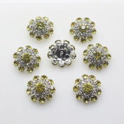 20pcs 20mm Light Yellow Colour Round Rhinestones Diamond Buttons Decorative Beads DIY Craft Embellishment for Headbands Hair Bows Wedding Bouquet Clothes Accessories with Hole for Sewing