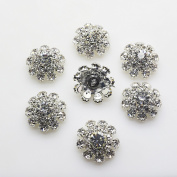 20pcs 20mm Clear Colour Round Rhinestones Diamond Buttons Decorative Beads DIY Craft Embellishment for Headbands Hair Bows Wedding Bouquet Clothes Accessories with Hole for Sewing