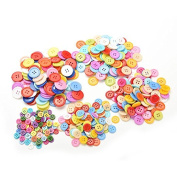 Multicolor Buttons 4 Holes Round Shape Sewing Buttons for DIY Handmade Accessories-Pack of 100 Pcs