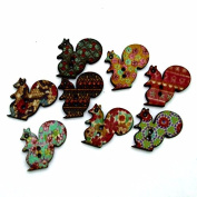 10 Multi Coloured Squirrel Shaped 1.9cm Assorted 2 Hole Painted Wooden Buttons for Sweaters or Crafts B12715G