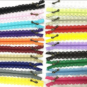 WKXFJJWZC 40Pcs Novelty ( 40cm) 16 inch Lace Closed End Zippers 3# Nylon For Purse Bags for DIY Sewing Tailor Craft Bed Bag (20/colour)
