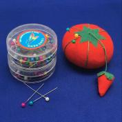 YEQIN Tomato Pin Cushion with 80Pcs/Box Round Pearl Straight Head Pins 2 Boxs