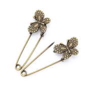 GIONO 10 PCS Butterfly Dots Bronze Brooch Safety Pins Alloy Vintage Jewellery Making Charms DIY Accessories