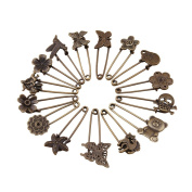 GIONO 15 Pcs Bronze Vintage Brooch Safety Pins Alloy DIY Jewellery Accessories