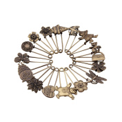 GIONO 16 PCS Bronze Vintage Brooch Safety Pins Alloy DIY Jewellery Accessories
