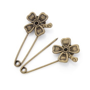 GIONO Lucky Clover Safety Pins Alloy Vintage Bronze Brooch DIYJewelry Accessories Set of 10