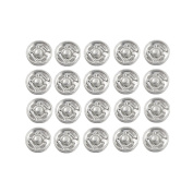 VNDEFUL 10mm Clothes Sewing Press Studs Buttons Fastener Silver Tone