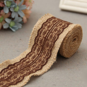 Gilroy 2M Natural Jute Burlap Hessian Ribbon with Lace Trims Tape Rustic DIY Wedding Decor