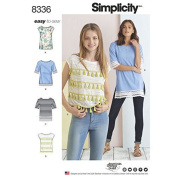 SIMPLICITY 8336 / D0655 MISSES KNIT TOPS (SIZE XXS-XXL) SEWING PATTERN