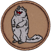 Silver Marmot Patrol Patch - 5.1cm Diameter Round Embroidered Patch