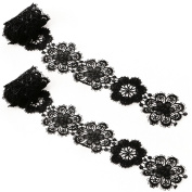 Wivily 2Pcs Flower Lace Appliques Embroidered for Wedding Dress, Applique DIY Sewing Craft