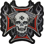 Skeleton motor biker size 8x8cm. biker heavy metal Horror Goth Punk Emo Rock DIY Logo Jacket Vest shirt hat blanket backpack T shirt Patches Embroidered Appliques Symbol Badge Cloth Sign Costume Gift