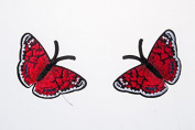 Butterfly Red Embroidered Craft Bouquet Twin Needlework Floral Decor Sew Iron