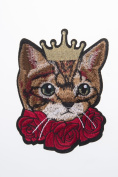 Cat Print Embroidered Craft Bouquet Cute Cat Needlework Floral Decor Sew Iron