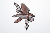 Bird Crewel Embroidered Craft Bouquet Bird Needlework Floral Decor Sew Iron
