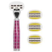 Shave-Lab Tres Dark Lavender Body Shaver with 4x P.L.6+ Blades set in two rows for a gentle Body Shave with Dual Flex Zone for every Body Shape