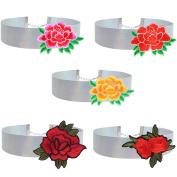 Tpocean 5pcs Vintage Silver Leather Velvet Rose Flower Choker Necklace Set Adujustable Plus Size for Women Girls Teens 90s 80s