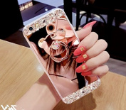 iPhone 7 Plus Case, Luoming Crystal Rhinestone Soft Rubber Bumper Bling Diamond Glitter Mirror Makeup Case with Ring Stand Holder for iPhone 7 Plus