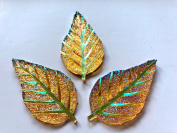 New fashion style sky golden No holes rhinestones leaf shape crystal gem stones 53x28mm 15pcs