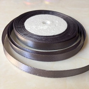1cm One Roll Single Face Satin Ribbon in Grey Price Per Roll/ 25 Yards, Available in 23 Colours