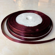 1cm One Roll Single Face Satin Ribbon in Burgundy Price Per Roll/ 25 Yards, Available in 23 Colours