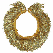 FEESHOW 15 Yards 15CM Women Shiny Sequined Fringes Trim Chain for Dancing Gold one size