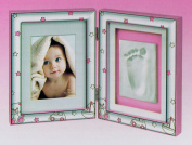 Double Photo Frame Bear with Laminated Impronta cm Silver.32.5 x 21 Italian Product with Manufacturer's Warranty