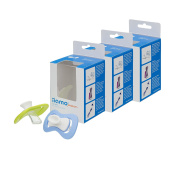 iiamo peace Eco Pack 2 + 1 FREE (6 pieces) Orthodontic Soother with silicone suction cup and ventilation holes BPA Free