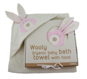 Woolly Organic Cotton Terry Hooded Towel Bunny 74x74cms Suitable from Birth,