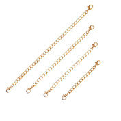 Stainless Steel Lobster Claw Clasps Extender Chain for Necklace Bracelet Set of 4 Jewellery Extenders 18k Gold
