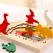 BBLIKE Jigsaw Wooden Puzzles Toy for Kids, 3D Three Layers Difficult Puzzles Dinosaur World Educational Learning Tool Best Birthday Present for Boys Girls