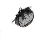 BEAUTIFUL LARGE BLACK FEATHER HATINATOR - FASCINATOR WEDDINGS LADIES DAY