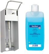 1000 ml Brushed Aluminium Wall-Mounted Dispensed with Short Lever and 100 ml Sterillium BODE