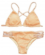 Arrowhunt Women's Hollow out Strappy Triangle Top Bikini Set