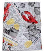 Summer Seafood Cookout Vinyl Tablecloth - Lobsters, Clams and Crabs on Newsprint