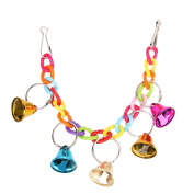 Parrot Toy, Pet Bird Bell Acrylic Toys Chew Parrot Ringer Hanging Swing Cage Cocktail