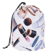Travel Round DrawString Cosmetic Toiletry Bag Beige XT [034]