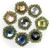 ALL in ONE 8pcs Mixed Colour Round Shape Vintage Rhinestone Button Embellishments