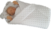 BlueberryShop Minky Very Warm and Cute Swaddle Wrap/Blanket with Pillow for Baby, White