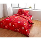Finlandek Lotus Duvet Cover Set 100% Cotton 1 Duvet Cover 240x260 cm + 2 pillow cases 63x63 cm red and green