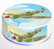 Spitfire Plane Cake Topper. Round Cake Topper. Edible Icing Sheet 19cm cake topper with FREE Banner!