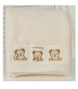 Kidsline Super Soft Boa Blanket in Cream with Teddy Embroidery