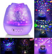 Welltop Starry Baby Night Light Moon Star Projector Light 360 Degree Rotation Colourful LED Projection Lamp, Decorative Light, Mood Light, Best Gift for Nursery Baby Children Bedroom Living Room - Purple