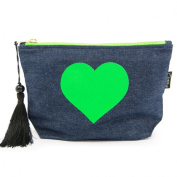 Denim Neon Green Heart Make-up Bag