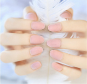Goldenssy 24Pcs/Lot Full Cover False Fake Nail Artificial Mat Effect Ultra Thin Breathable Long French Style Elegant Pink