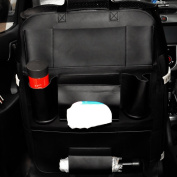 CozyCabin Car Backseat Organiser Waterproof Protection Anti-Scratches, PU Leather Backseat Pocket Storage Seat Back Cover for Car