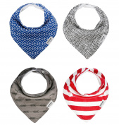 """Baby Bandana Drool Bibs, Unisex 4-PACK Absorbent Organic Cotton, Modern Baby Gift Set """"PATRIOTIC"""" by Two Tree Baby"""
